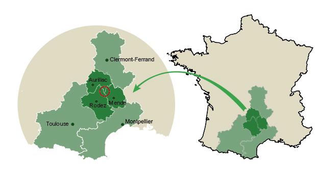 Localisation Aubrac en France - source : www.projet-pnr-aubrac.fr